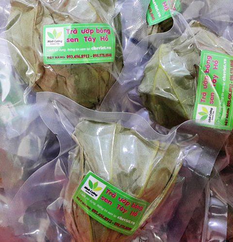 Sản phẩm trà ướp bông sen Hồ Tây cao cấp